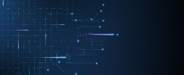 Obraz Abstract tech background. Futuristic technology interface - fototapety do salonu