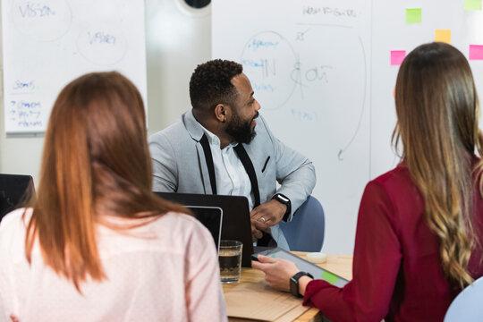 Entrepreneurs in meeting at office