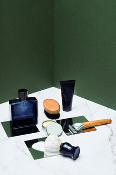 Male grooming products on marble table
