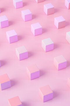 3D illustration of pink and purple cubes pattern