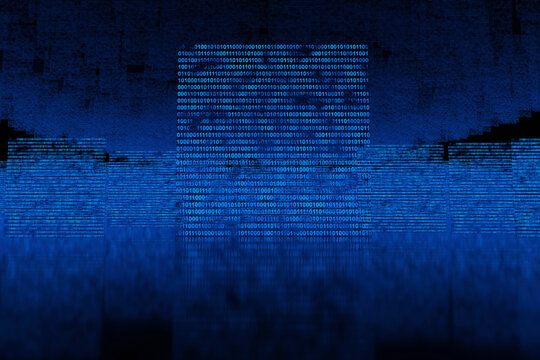 Three dimensional render of blue floating binary codes