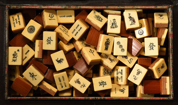 Vintage Bone and Bamboo Mah Jong tiles Background