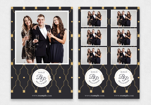 Elegant Wedding Party Photo Booth Card Templates Layout