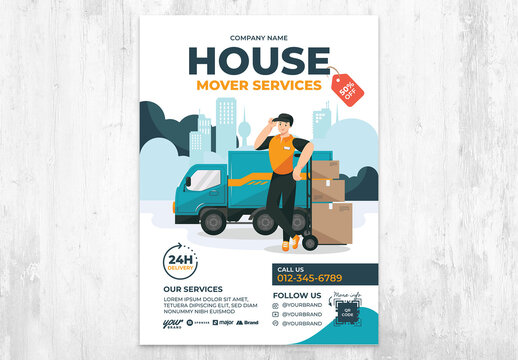 House Move Service Flyer with Blue Truck