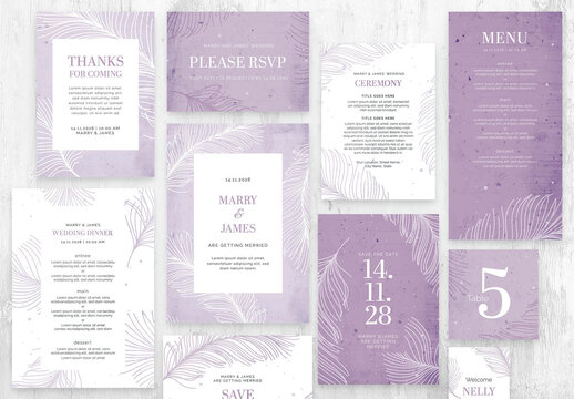 Minimal Feather Wedding Suite Purple