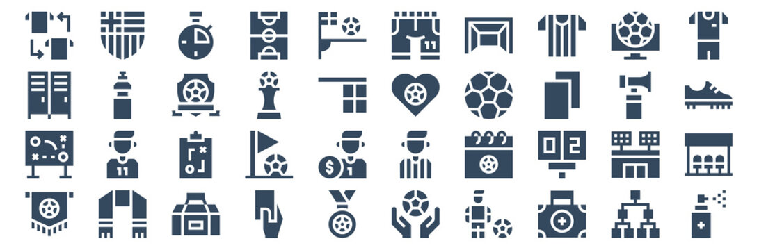 set of 40 soccer web icons in glyph style such as soccer, game strategy, lockers, soccer field, love, medicine. vector illustration.