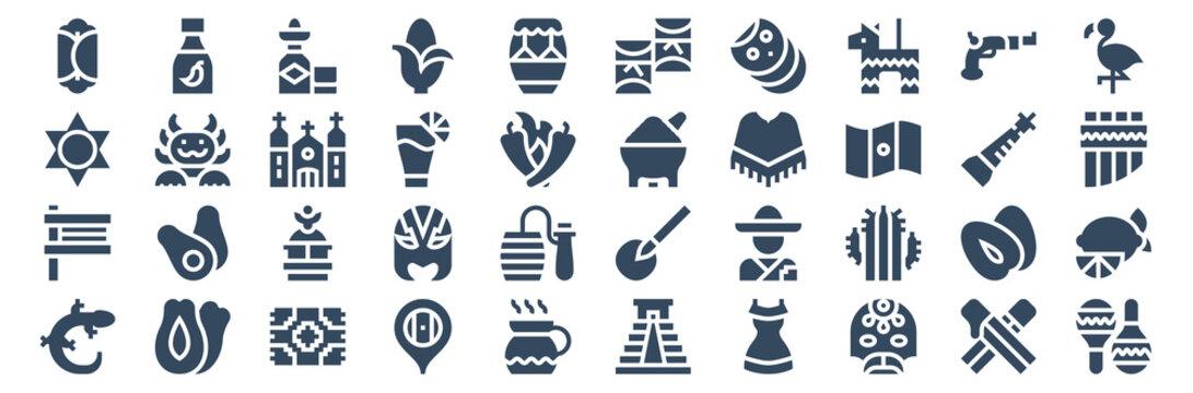 set of 40 mexico web icons in glyph style such as gecko, matraca, sun, corn, molcajete, maracas. vector illustration.