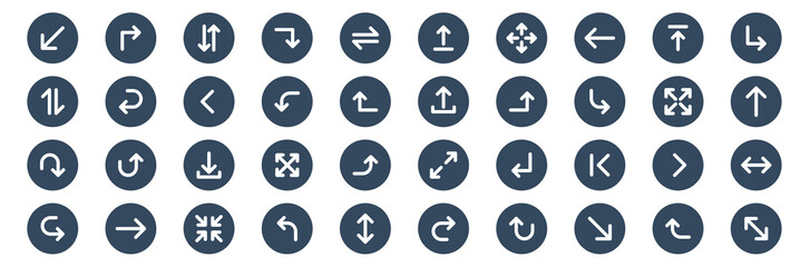 Obraz set of 40 arrow web icons in glyph style such as right, down, exchange, down, upload, fullscreen. vector illustration. - fototapety do salonu