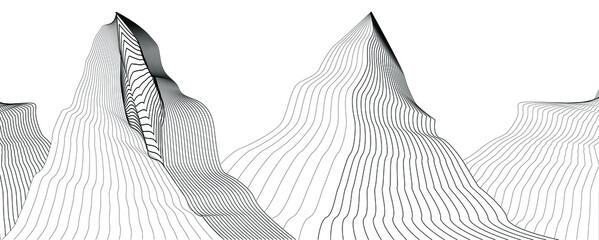 Fototapeta mountain peaks . line art vector illustration obraz