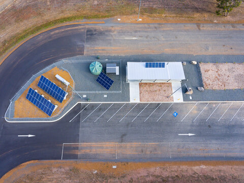 aerial view of newly constructed roadside ablution facilities and truck stop