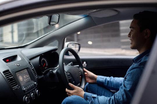 Interior of man driving car