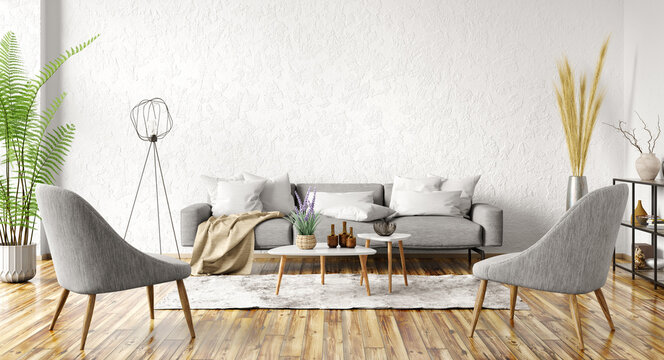 Modern interior design of apartment. Cozy living room with gray sofa, coffee tables and armchairs. Home. 3d rendering
