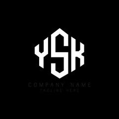 Fototapeta YSK letter logo design with polygon shape. YSK polygon logo monogram. YSK cube logo design. YSK hexagon vector logo template white and black colors. YSK monogram, YSK business and real estate logo.  obraz