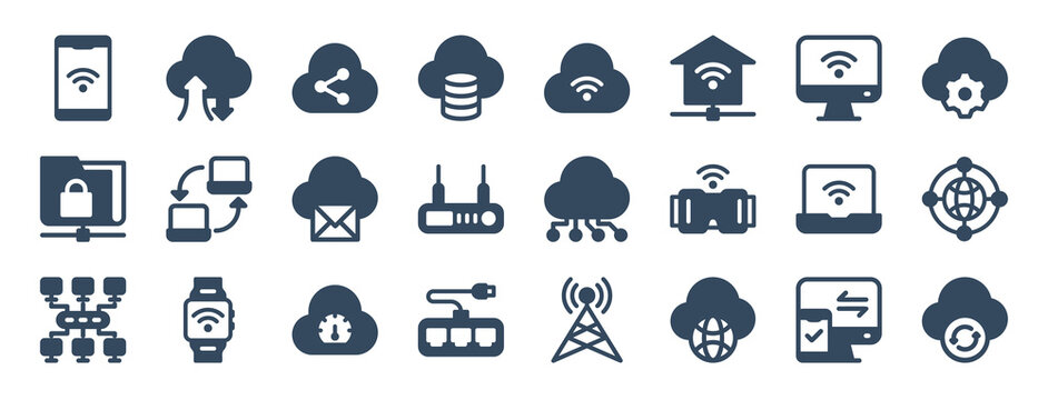 set of 24 network web icons in glyph style such as sharing, connection, speed, cloud, update, laptop. vector illustration.