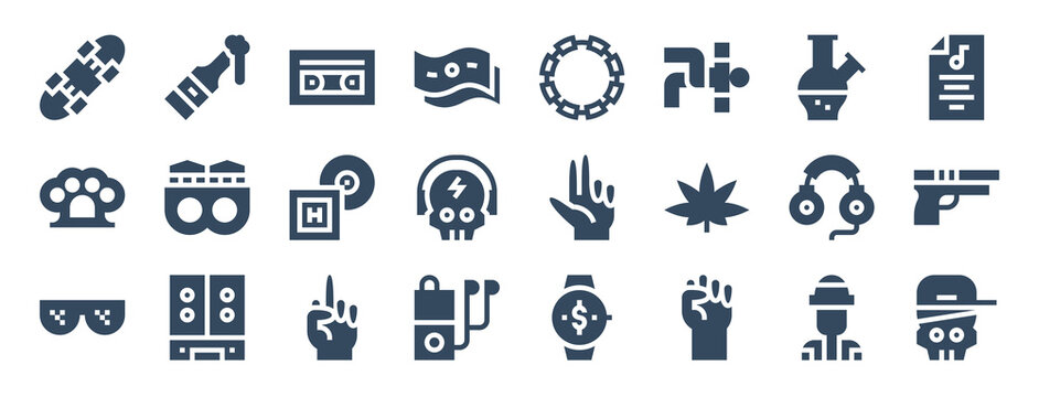 set of 24 hip hop web icons in glyph style such as casette, hand, hand, fist, skull, headphones. vector illustration.