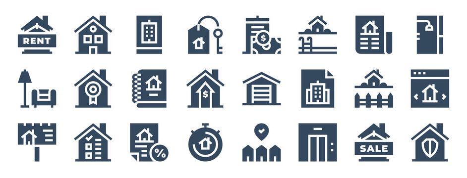 set of 24 real estate web icons in glyph style such as real estate, garage, discount, elevator, security, backyard. vector illustration.
