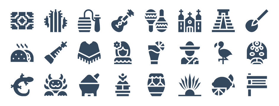 set of 24 mexico web icons in glyph style such as balero, cocktail, molcajete, grave, matraca, flamingo. vector illustration.
