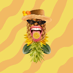 Funny pineapple as human face in hat on abstract background. Summer concept.