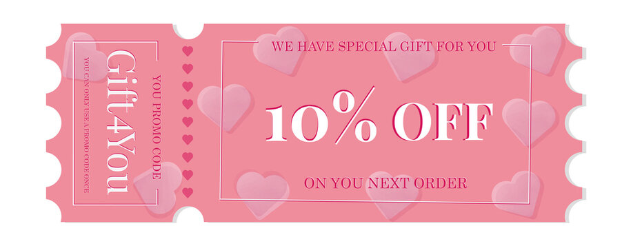 Violet  Gift  Coupon element template, graphics design. Sale vouchers. Template Coupon Voucher promo code. Gift card with coupon code. Special offer price, voucher  Valentin Day etc. Vector