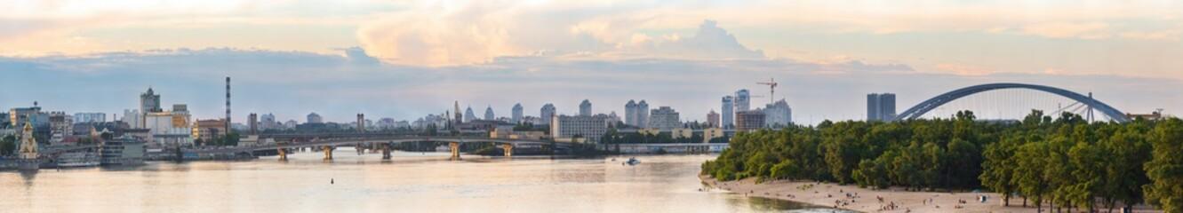 View of Harbor Bridge and Podolsko-Voskresensky bridge across the Dnieper, Kyiv, Ukraine