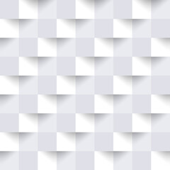 Abstract white seamless pattern. Geometric square background. Repeated 3d geometry pattern for design prints. Modern graphic cube element. Repeating light monochrome texture. Vector illustration