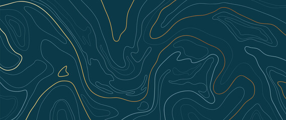 Obraz Luxury gold abstract line art background vector.  Mountain topographic map background with golden lines  texture, 17:9 wallpaper design for wall arts, fabric , packaging , web, banner, app, wallpaper. - fototapety do salonu