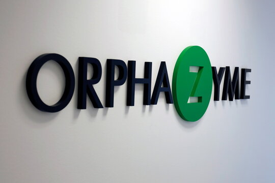 The Orphazyme logo is seen at the company's headquarters in Copenhagen