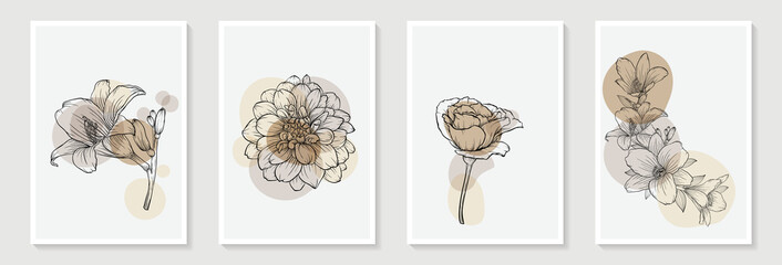 Set of creative minimalist hand draw illustrations rose floral outline pastel biege simple shape and brush stroke for wall decoration, postcard or brochure cover design