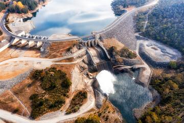 D Jind Dam spillway top down - fototapety na wymiar