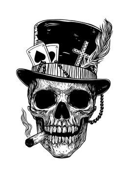 Baron Samedi skull. Papa legba
