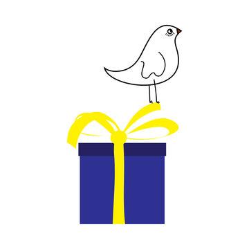 Doodle Sketch Bird On Gift Box