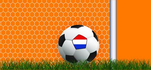 Fototapeta Goalpost, and goal net texture for ball in goal. Soccer ball or football witht flag of the Netherlands Vector orange background banner. wk, ek play model. Sport finale. Holland, duch 2020, 2021, 2022 obraz