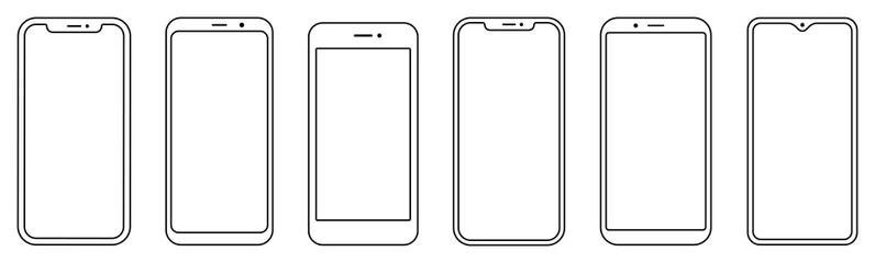Fototapeta Smartphone outline set. Phone. Mobile phone. Vector obraz