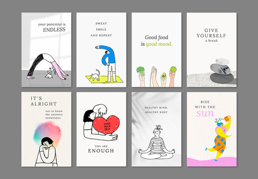 Health and Wellness Templates with Cute Illustrations