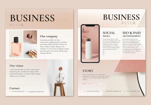 Business Flyer Template in Feminine Style Design