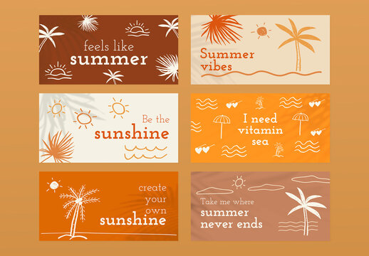Editable Summer Template Set in Doodle Style