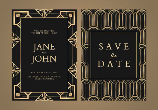 Wedding Invitation Card Template with Geometric Style