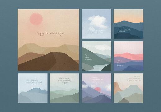 Motivational Quote Template on Landscape Background Set