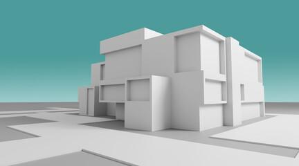 Obraz Modern house abstract rendering - fototapety do salonu