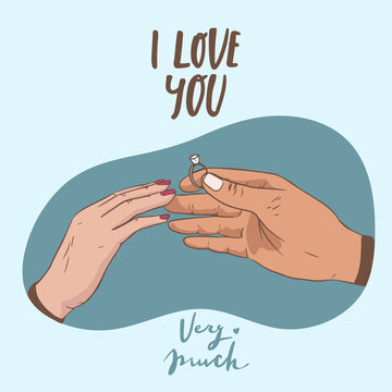Will you marry me. Marriage proposal vector illustration with wedding ring and male and female hands. i love you very much