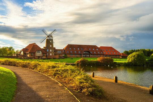 Old windmill near Caldecotte Lake in Milton Keynes. England