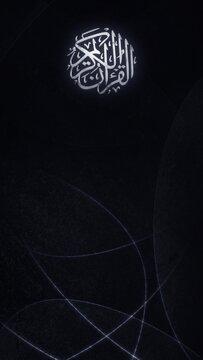 Arabic religious Muslim calligraphy emblem on black vertical background banner. Elegant modern Islamic wallpaper for Ramadan, Eid Mubarak greeting, religious prayer, and culture of faith in Holy Islam