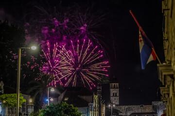 Coloured firework in Dubrovnik, Croatia.