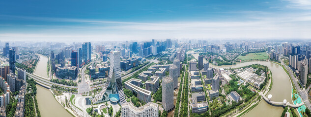 Aerial photography of modern architectural landscape in Chengdu Industrial Park - fototapety na wymiar