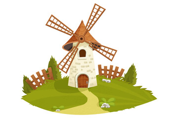 Windmill fairy with wooden fence, grass, trees, farming landscape in cartoon style isolated on white background. Retro, rural building, tower with wooden propeller. Clipart, design element.