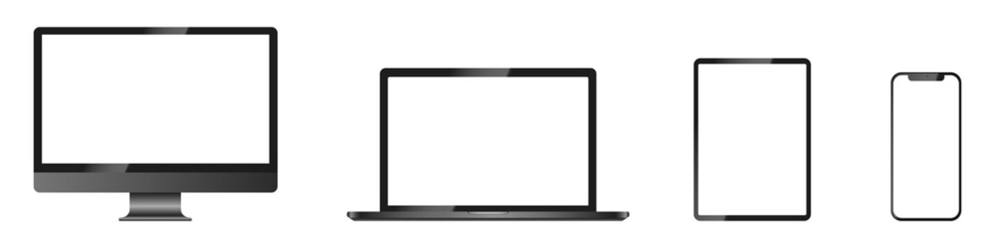 Realistic mockups of Apple devices on an isolated background. Vector set of phone, tablet, laptop and computer. Empty screen mock-up, dark design. Vector EPS 10