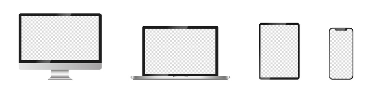 Realistic mockups of Apple devices on an isolated background. Vector set of phone, tablet, laptop and computer. Empty screen mock-up, silver design. Vector EPS 10
