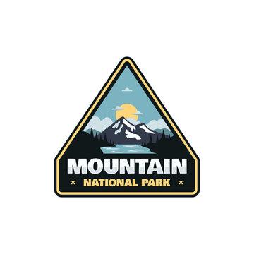 National park logo badge patch emblem illustration adventure mountain outdoor