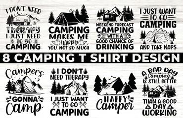 Obraz camping bundle t shirt design  - fototapety do salonu