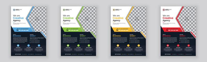 Fototapeta Creative corporate and business flyer template design with clean design obraz